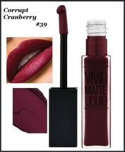 2X Maybelline Color Sensational Vivid Matte Liquid Lipstick CORRUPT CRANBERRY 38 - $11.75