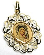 Anhänger Medaille, Gelbgold 750 18K, Rahmen A Blume, Maria und Jesus Kind image 2