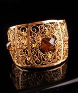 STUNNING Vintage Bracelet - golden topaz rhinestone Clamper - filigree c... - $55.00