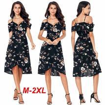 OUtlet Summer Women Boho Floral Print Sexy Split Dress Fashion Elegant Short Sle - $21.45+
