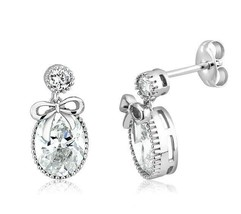 Sterling Silver Signity CZ Oval Round Halo Miligram  Bubble Dangle Earri... - $45.53