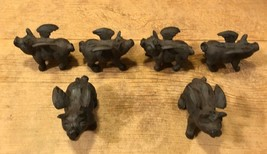 Set of Six Small Flying Pig Cast Iron Metal Figurines Statues Rustic 018... - $36.55