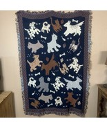 """Dog Cat Throw Blanket 72"""" x 48"""" Fringed Reversible Blue Brown Scotty Dal... - $49.49"""