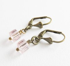 Small pink crystal earrings, flower girl earrings, pink wedding jewelry - $5.85
