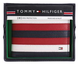 Tommy Hilfiger Men's Leather Wallet Passcase Billfold RFID Navy Red 31TL220104