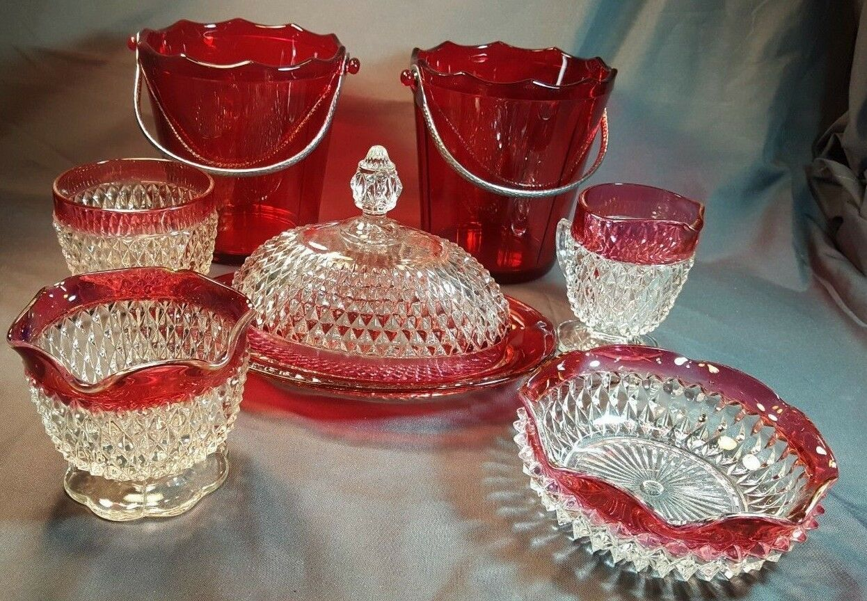 Primary image for Lg. Lot Cranberry & Clear Cut Glass Serving Pieces Very pretty Holiday Decor
