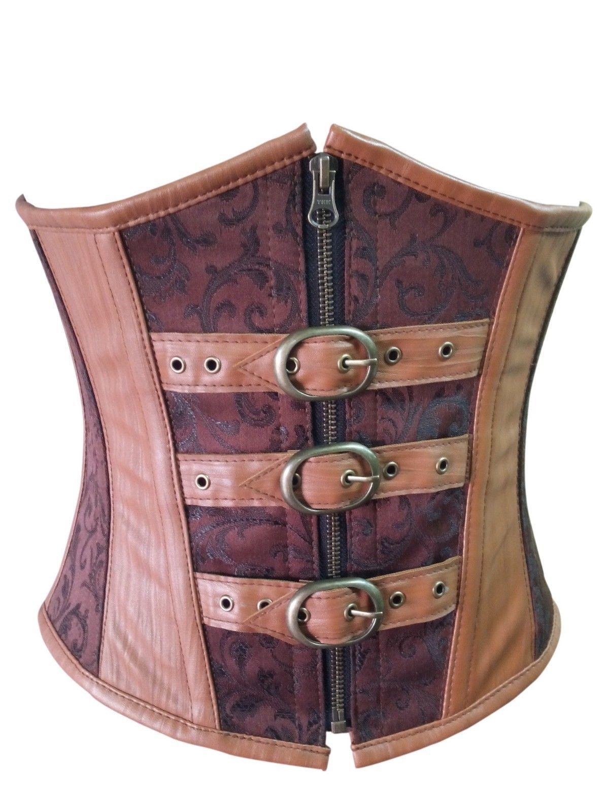 Brown Brocade & Leather Gothic Steampunk Waist Training Bustier Underbust Corset