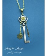Charmed Key Necklace: silver & gold, vintage mother-of-pearl button, gol... - $12.00