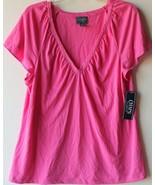 Chaps by Ralph Lauren Womens Pink Lace Trim V Neck Knit Top M 8-10 L 12-14 - $29.98
