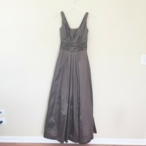 David's Bridal Size 4 Mocha Satin Taffeta Scoop Ball Gown Bridesmaid Max... - $74.25