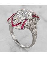Art Deco Bezel Set Round Simulants Milgrain Wedding Ring- 925 Silver Ring - $96.00
