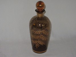 Vintage Brown Glass Decanter Bottle w Stopper Gold Trim Leaves - $12.54