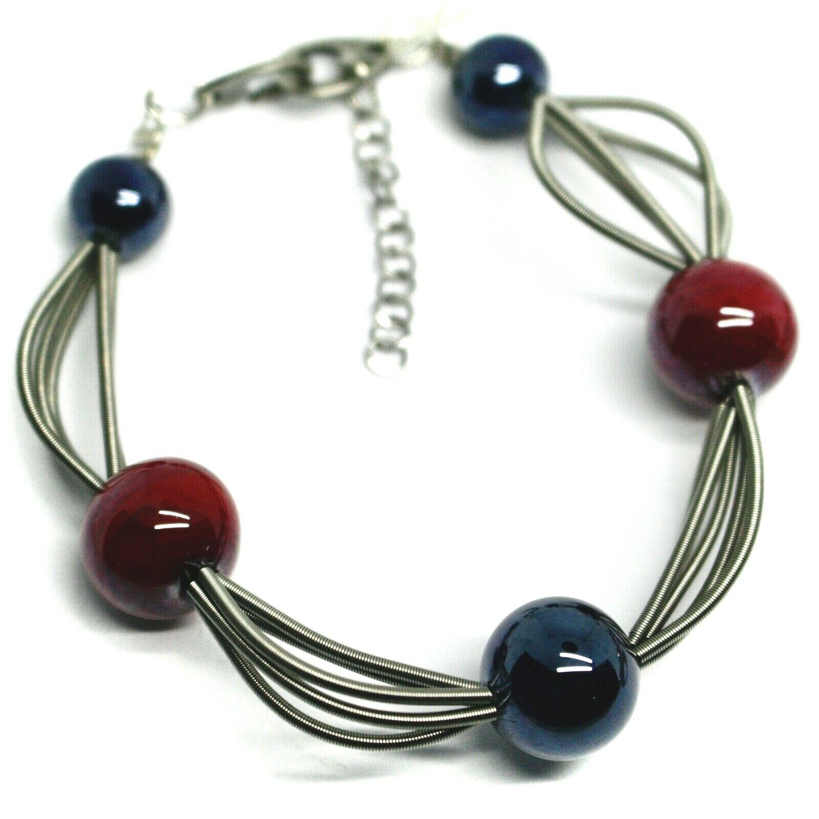 """MULTI WIRES BRACELET BLUE RED SPHERES MURANO GLASS, 20cm 7.9"""", ITALY MADE"""