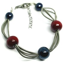 """MULTI WIRES BRACELET BLUE RED SPHERES MURANO GLASS, 20cm 7.9"""", ITALY MADE image 1"""