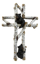 Rustic Western Black Bear Cubs Climbing On Birch Tree Wall Cross Decor P... - $35.99