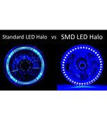 """5-3/4"""" Amber SMD LED Halo Angel Eye Crystal Headlight & 6k LED Bulb Set ... - $40.00"""