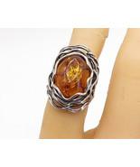 OR PAZ ISRAEL 925 Sterling Silver - Vintage Amber Cocktail Ring Sz 5.5 -... - $50.19