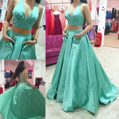 blue prom Dress,two pieces Prom Dress,A-line prom dress,halter prom dresses