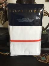 RALPH LAUREN PALMER 2PC EURO SHAM WHITE/EQUESTRIAN ORANGE  BNIP - $123.95