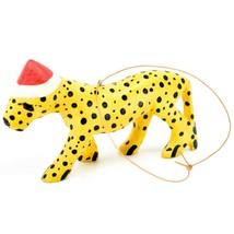 Hand Carved & Painted Jacaranda Wood Santa Hat Cheetah Safari Christmas Ornament image 2