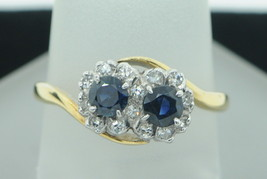 Art Nouveau Style (ca. 1964) 18K Yellow and White Gold Sapphire and Diam... - $565.00