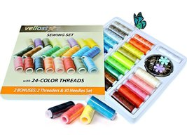 Polyester Sewing Thread KIT with 24 Assorted Colored Bobbins Durable Ref... - $11.00