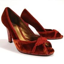 Cole Haan Women's Shoes Burgundy Red Velvet Peep Toe Pumps Embellished 7... - $66.45