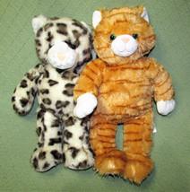 Build A Bear SPARKLY SNOW LEOPARD + ORANGE TABBY CAT Plush Stuffed Anima... - $23.36