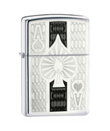 Zippo Windproof Ace Of Spades Lighter Etched On HP Chrome #24196 - $15.38