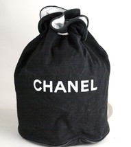 Auth CHANEL Paris Black Cotton Canvas Drawstring Backpack Bag Novalty Un... - $147.51