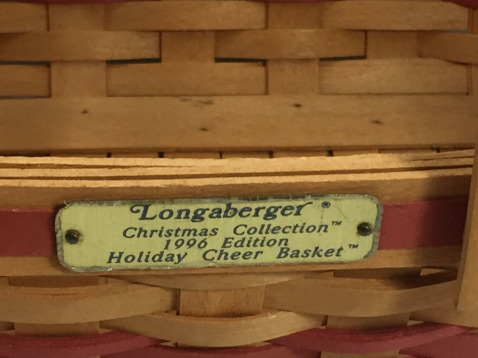 LONGABERGER 1996 Christmas Collection Holiday Cheer Basket 24024