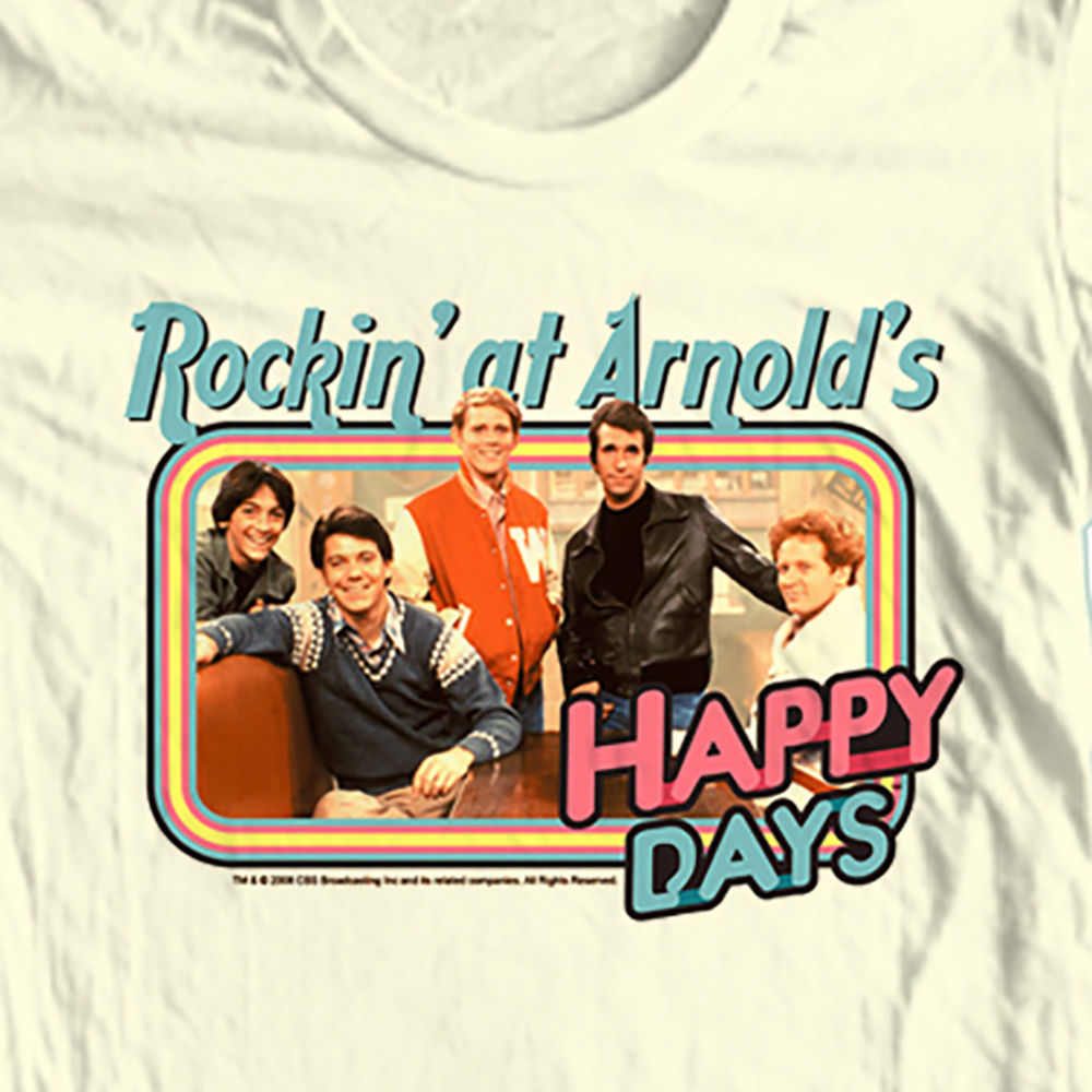 Happy days t shirt rockin at arnolds fonzie chachi retro 70 s 80 s graphic tee