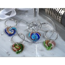 Murano Art Deco Collection Heart Design Wine Charms - 60 Sets - $205.95