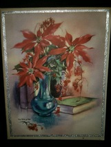 Red Poinsettias in Vase Vintage Christmas Card BOGO Sale  - £4.98 GBP