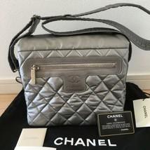 Auth CHANEL Shoulder Bag silver Matelasse Zipper Metallic Nylon Logo B2293 - $756.33