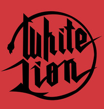White Lion logo T-shirt retro 80's heavy metal glam rock 100% cotton red tee image 2