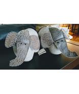 Pair Of Dora Designs Elephant Cloth & Leather Book Ends, Door Stops Deco... - $28.99