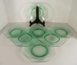"Octagonal Green Glass Salad or Dessert 7-3/8"" Plate (s) LOT OF 7 - $39.55"