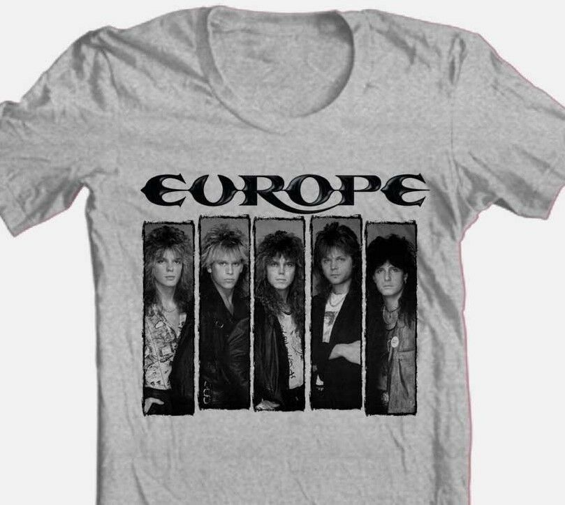 Europe T-shirt 1980's heavy metal rock concert retro 100% cotton graphic tee