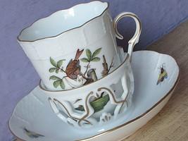 Vintage Herend china hand painted birds butterflies trembleuse tea cup teacup - $137.61