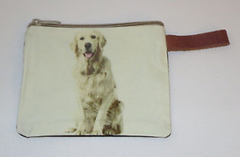 "Golden Retriever Makeup Bag Leather Strap New Zippered 4"" x 6"" Dog Puppy... - $12.86"