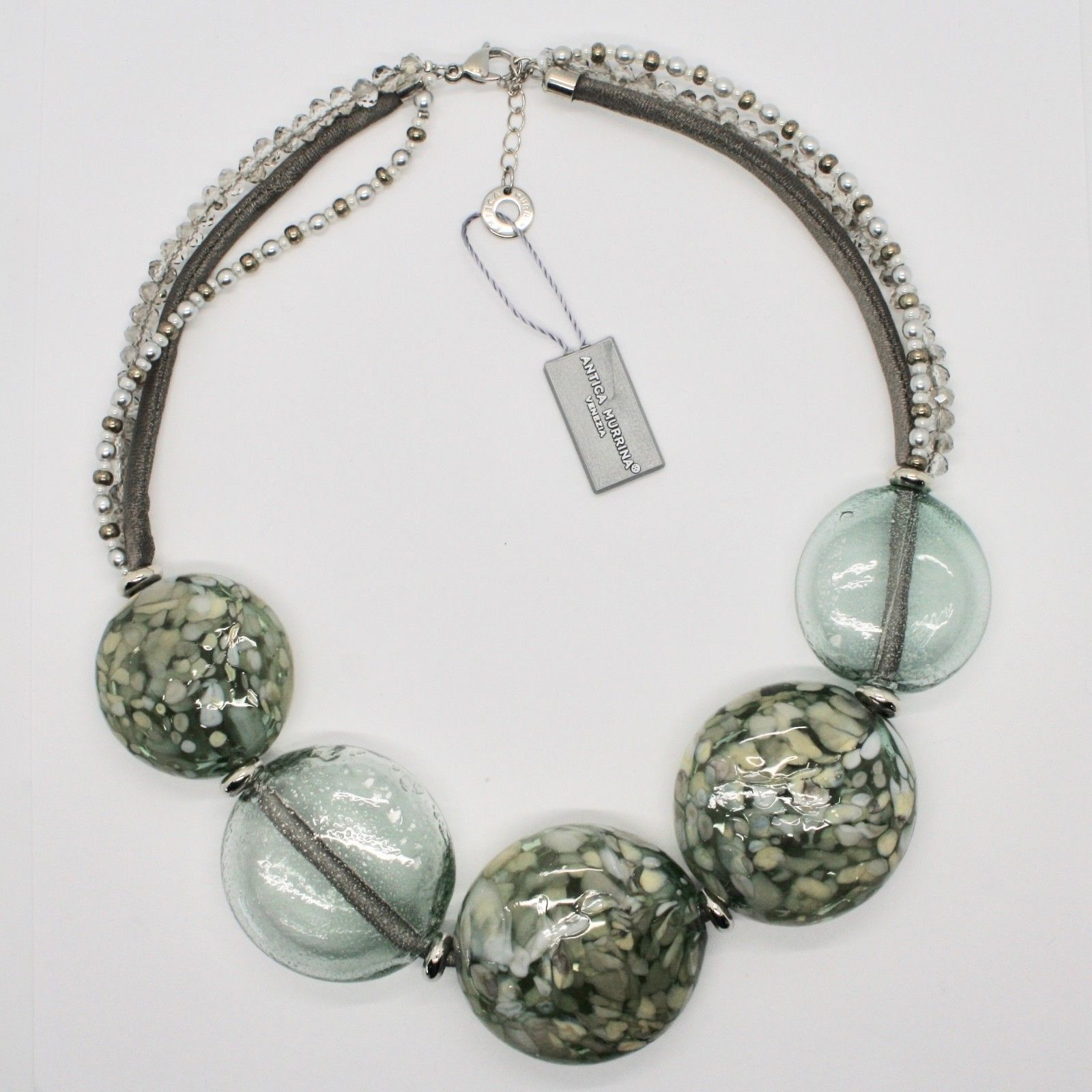 ANTICA MURRINA VENEZIA NECKLACE WITH BIG DISC OF MURANO GLASS GRAY COA75A34