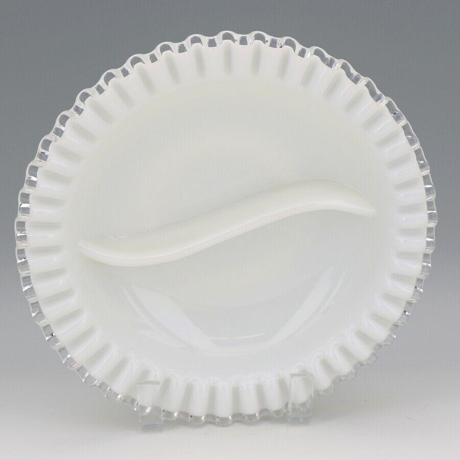 "Vintage Fenton Art Glass Silver Crest Divided 9"" Round Relish Dish"