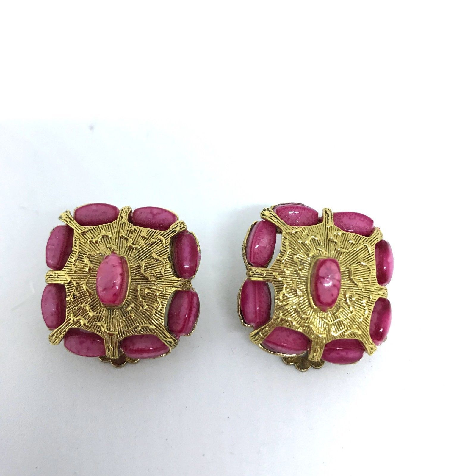Primary image for Vintage Mid Century Selini Clip-on Earrings Pink and Gold Tone