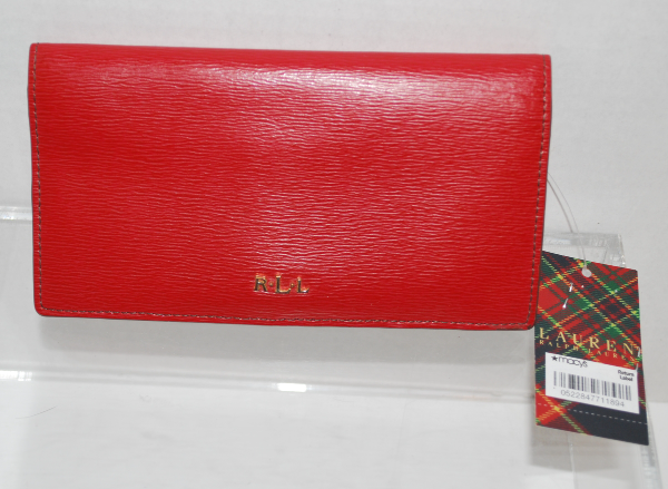 Ralph Lauren Women's Red Leather Slim Bifold Wallet (Tate ) Pre-Owned