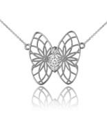 14K White Gold Filigree Butterfly Diamond Necklace - $179.99+