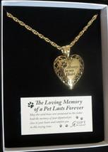 Memorial Locket Necklace Pet Always in My Heart Antique Gold Ash Urn Dog Cat New - $37.61