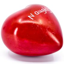 Vaneal Group Hand Carved Soapstone Naughty/Nice 2-Sided Red Heart Paperweight image 5
