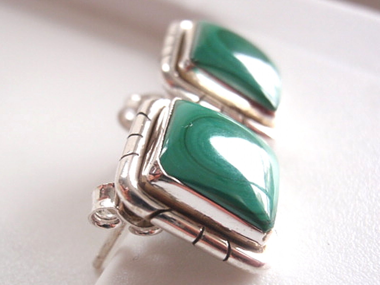 Green Malachite Square Stud Earrings Groove Accented 925 Sterling Silver a201c