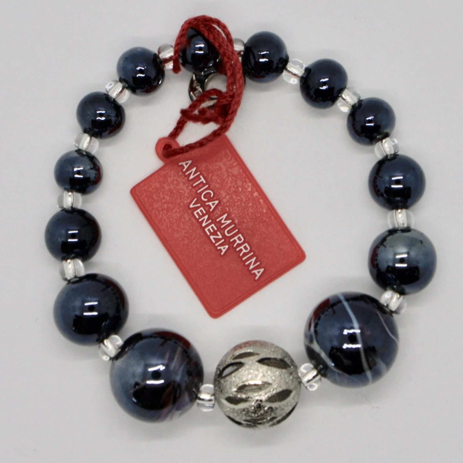 BRACELET ANTICA MURRINA VENEZIA WITH MURANO GLASS BLACK AND GRAY BR678A14